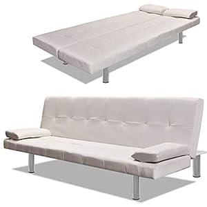 vidaXL Canapé-lit Réglable avec 2 Oreillers Cuir Synthétique Blanc Crème Salon
