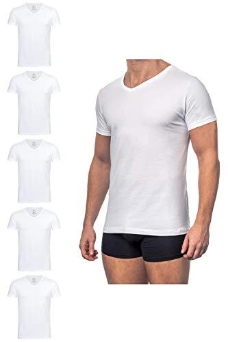 Burnell & Son Business Unterhemd mit Kurzarm und V-Ausschnitt für Herren aus atmungsaktiver Baumwolle, Slim Fit 5er Pack