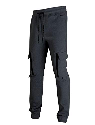 SCREENSHOT Sports Mens Interlock Fleece Utility Athletic Jogger Workout Zipper Pockets Sweatpants