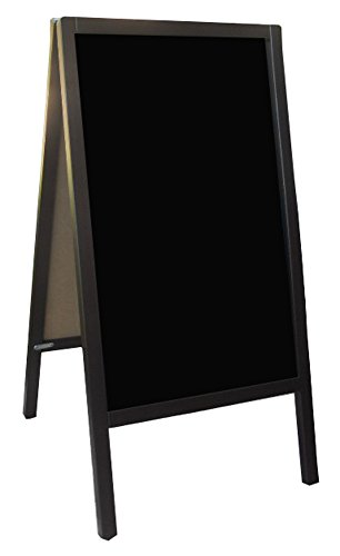 Tektrum Large Sturdy Advertising Double-Side Sidewalk A-Frame Dark Wood Sandwich Sign Board 20''x40'', Free Standing, Easy Erase Writing Surface, For Shops Pubs Restaurants - Liquid Chalk Use by Tektrum