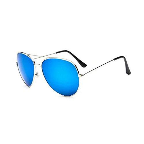 Garrelett Retro Classic Outdoor Sunglasses Reflective Sun Eyewear Eyeglasses Silver Metal Frame Coating Lens for Men - Bans Silver