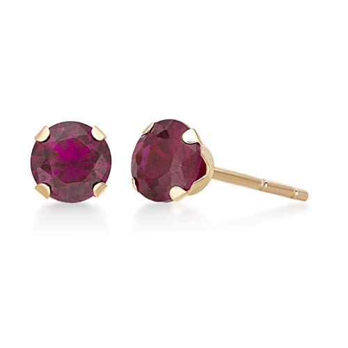 .60 cttw Round 4MM Simulated Red Ruby 10K Yellow Gold Stud Earrings