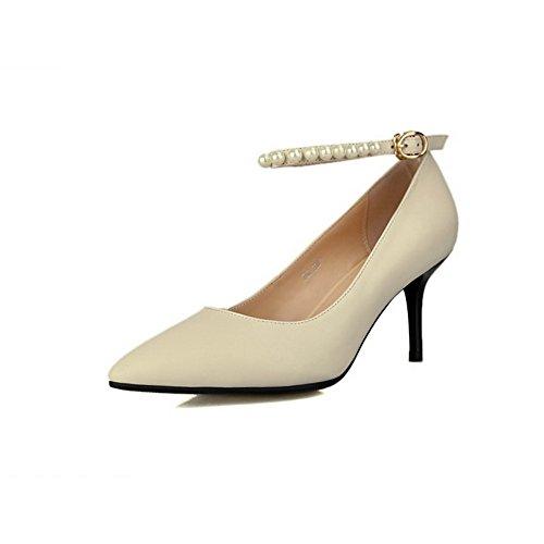 Amoonyfashion Femmes Boucle Pointu Fermé Orteils Pointes Talons Mixtes Matériel Solide Pompes Chaussures Beige