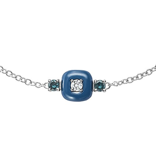 Nikos Koulis femme  18carats (750/1000)  Or blanc|#Gold Rond   Bleu Diamant