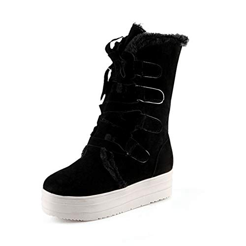 JOYBI Women Casual Mid-Calf Snow Boots Lace Up Faux Suede Flat Fur Lined Warm Round Toe Platform Boot Black