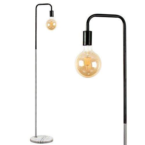 Retro Style Black and Chrome Metal Floor Lamp with a White Marble Base -...