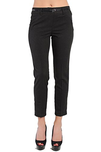TheMogan Women's Timelss Dressed Up Tapered Leg Crop Trouser Pants Black 2XL