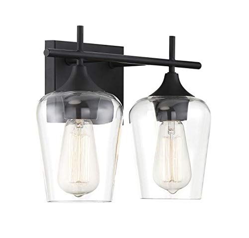 """Savoy House 8-4030-2-BK Octave 2-Light Bathroom Vanity Light in a Black Finish with Clear Glass (14"""" W x 9"""" H) - Applications: Perfect For Use In Bathrooms And Over Vanities. Adds Charm To Any Interior Versatile: LED/CFL/Incandescent Compatible, Holds Two 60 Watt E26 Base BULbs (Not Included) Install Your Way: This Versatile Fixture Can Be Installed Either With Bulbs Pointing Up Or Down - bathroom-lights, bathroom-fixtures-hardware, bathroom - 31j3fNno22L -"""