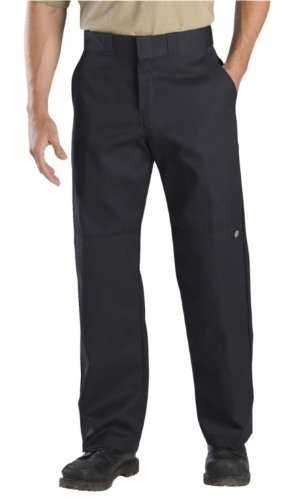 Dickies Men's Relaxed Straight Fit Double Knee Work Pant, Black, 38x30