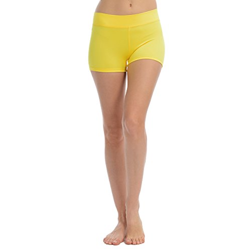Anza Womens Active Wear Dance Booty Shorts-Yellow,Small