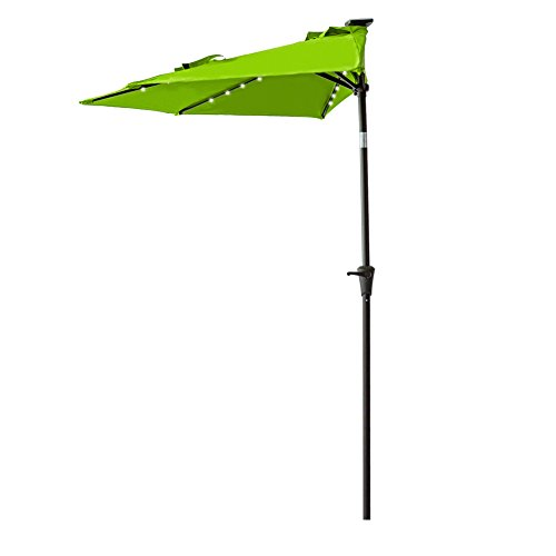 Cheap FLAME&SHADE 9 Foot Solar Power LED Lights Half Round Outdoor Patio Market Umbrella with Crank Lift, Push Button Tilt, Apple Green