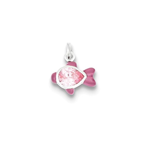 925 Sterling Silver Cubic Zirconia Cz Pink Enameled Fish Pendant Charm Necklace Animal Sea Life Fine Jewelry Gifts For Women For Her]()