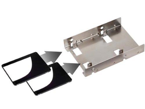 Silverstone Tek 3.5-Inch to 2 X 2.5-Inch Hard Drive HDD SSD Bay Converter, Silver (SDP08)