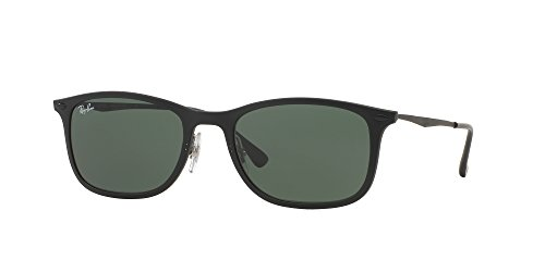 Ray-Ban INJECTED MAN SUNGLASS - MATTE BLACK Frame GREEN Lenses 52mm - Ray Light Ray Glasses Ban