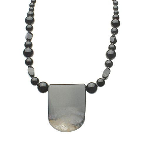 Agate Stone Pendant Black Onyx Beads Sterling Silver Necklace, 18