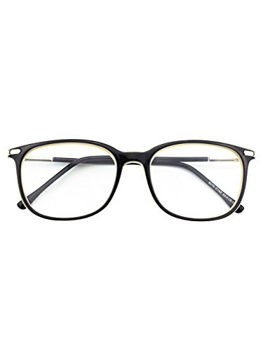 Happy Store CN79 High Fashion Metal Temple Horn Rimmed Clear Lens Eye Glasses,Black - Fashion Glasses Eye