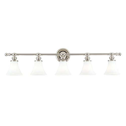 - Weston 5-Light Vanity Light - Polished Nickel Finish with Opal Matte Glass Shade