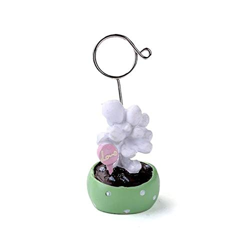 Occus Coloffice 1Pclovely Small Potted Variety Cactus Sewing Machine Modeling Decorative Message Folder Desktop Card Holder Photo Clip - (Color: Green Fleshy Plants)
