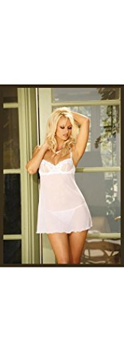 Embroidered mesh babydoll with underwire cups, adjustable straps and back closure. Matching g-string included.