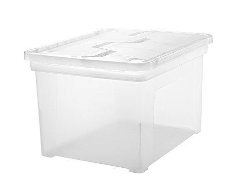 IRIS Letter and Legal Size Wing Lid File Box, Clear, 6 Pack