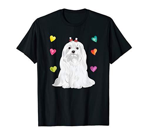 - I Love My Dog - Maltese Dog Lover T-Shirt