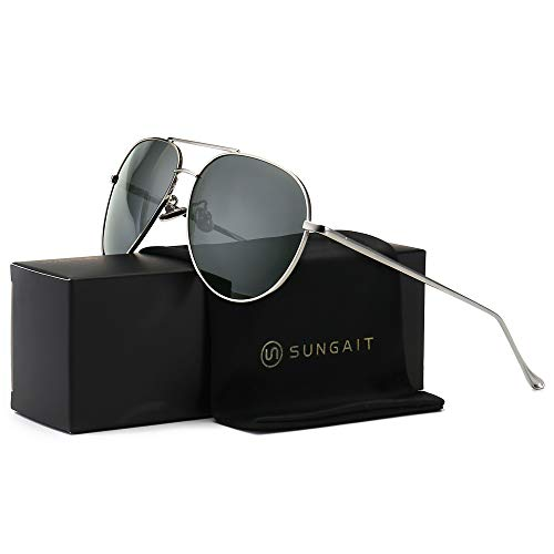 (SUNGAIT Women's Lightweight Oversized Aviator sunglasses - Polarized Lens (Sliver Frame/Grey Lens, 60)1603YKH)