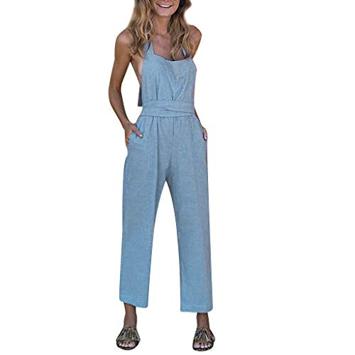 Benficial Women Fashion Casual Camisole Solid High Waist Summer Long Jumpsuit Sky Blue
