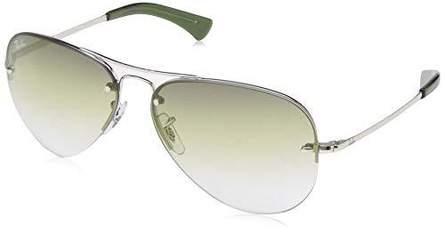 Ray-Ban Men's Rb3449 Aviator Sunglasses, Silver, 59.0 ()