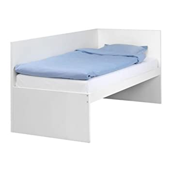 official photos 4b05a bb568 Amazon.com: Ikea Bed frm w/headboard+slatted bedbase, white ...
