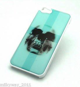 WHITE Snap On Case iPhone 5 Plastic Cover ICEBERG BLUE CROSS SKULL sugar teal