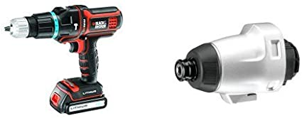Taladro percutor Multievo con malet/ín y dos bater/ías 27 W, 18 V Black and Decker MT188KB + MTIM3-XJ Cabezal atornillador de impacto para la multi-herramienta Multievo