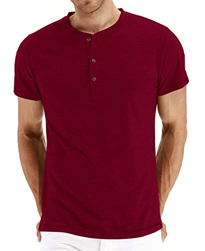 PEGENO Men's Casual Slim Fit Short Sleeve Henley T-shirts Cotton Shirts Wine Red-US XL