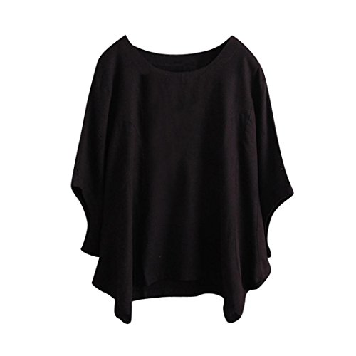 (Vintage Short Sleeved Fashion Irregular Solid Shirt Blouse for Women Black)