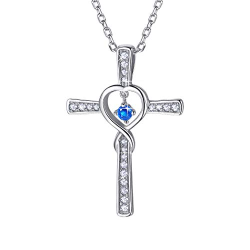 Birthstone Cross Necklace September Sterling Silver Birthday Gift Sapphire CZ Love Heart Infinity Necklace for Women/Girls