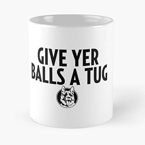 The Funny Coffee Mugs For Halloween Christmas Party Decoration 11 Ounce White-crepchief Letterkenny Shoresy Give Your Balls A Tug Classic Mug Holiday