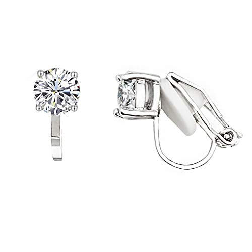 SELOVO Prong Setting 6mm Round Cubic Zirconia Clip on Stud Earrings Silver Tone