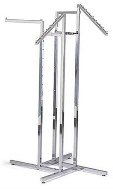 (Chrome 4-Way Clothing Rack - 2 Straight Arms & 2 Slant Arms - STOR-60101)