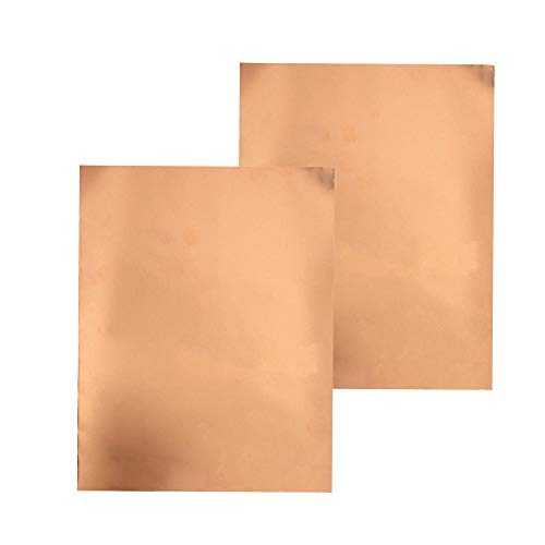 Copper Foil Tape with Single-Side Sheets 11.8inch x 0.24yard(30cm x 22.5cm) Conductive Adhesive Stained Glass Guitar Soldering Electrical Repairs Grounding EMI Shielding (2 Pcs)