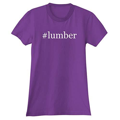 (#Lumber - A Soft & Comfortable Hashtag Women's Junior Cut T-Shirt, Purple, Small)