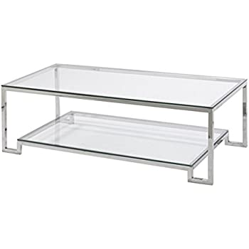 This Item Large Demster Glass Coffee Table, Glass And Stainless Steel, 47.3  Inches Long X 13.7 Inches Wide X 31.1 Inches High