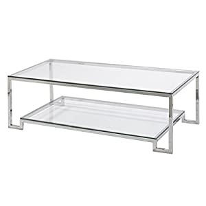 Large Demster Glass Coffee Table, Glass And Stainless Steel, 47.3 Inches  Long X 13.7 Inches Wide X 31.1 Inches High