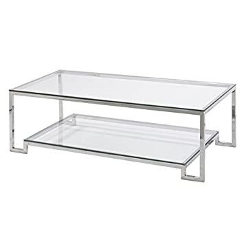 Large Demster Glass Coffee Table, Glass And Stainless Steel, 47.3 Inches  Long X 13.7