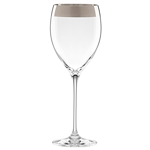 Lenox Timeless Wide Platinum Wine Glass, Clear
