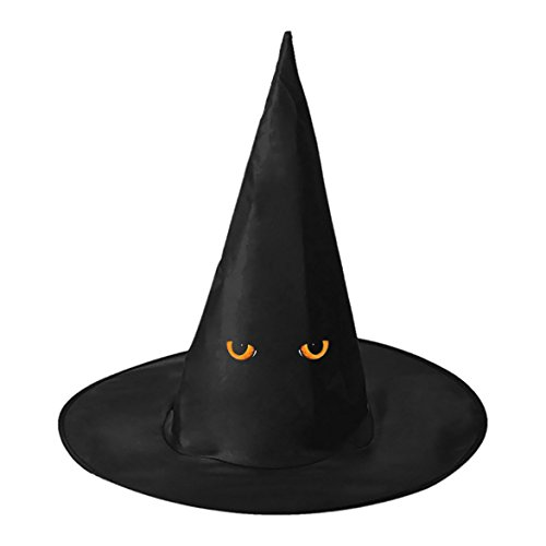 Kitty Halloween Cat Costume Diy (Black Cat Eyes DIY Unisex Halloween Toys Witch Hat Black Cap For Women Men)