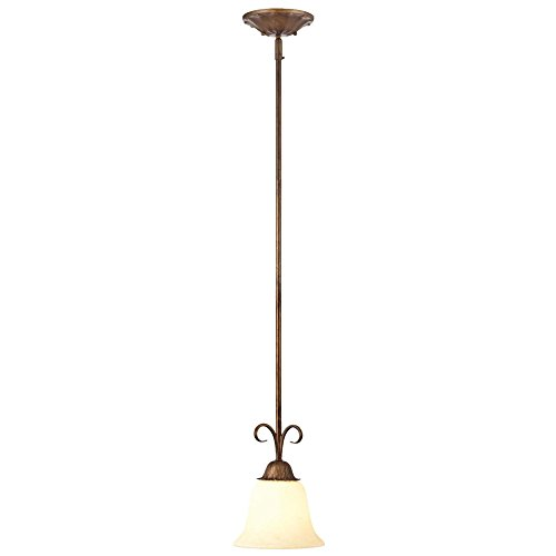 Regal Springs One-Light Interior Pendant, Ebony Gold Finish with Burnt Scavo Glass (Ebony Metal Finish)