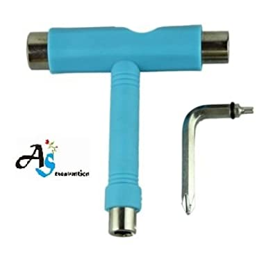 A&S Creavention? Skateboard T-Tool All in one Screwdriver Socket Multi functions skate tool (Turquoise)