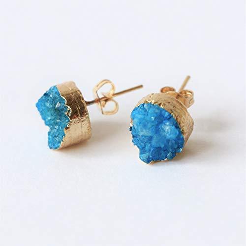 Blue agate stud earrings 18k gold ()