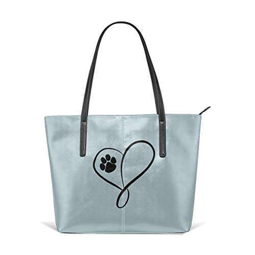 Infinite-Magic Cat Dog Paw Prints Heart Women's Tote Handbags Leather Handbags Tote Purses Handbags Tote Purse