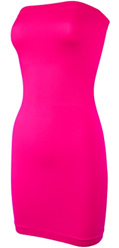 (KMystic Seamless Strapless Tube Slip Dress (Neon Pink) One Size)
