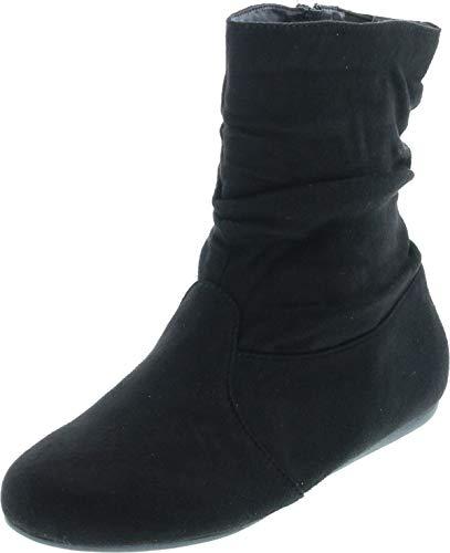BESTON Women's Fashion Selena-03 Calf Flat Heel Side Zipper Slouch Ankle Boots